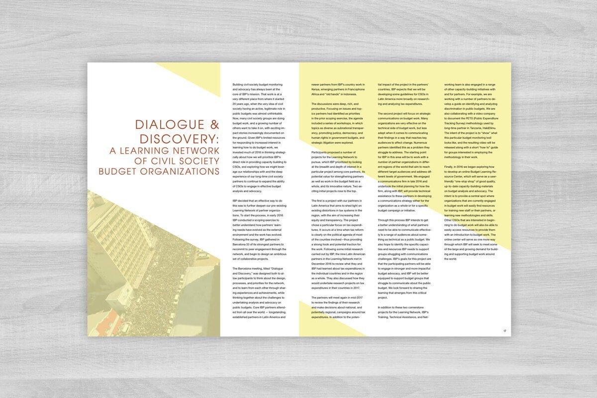 International Budget Partnership 2016 Annual Report Design