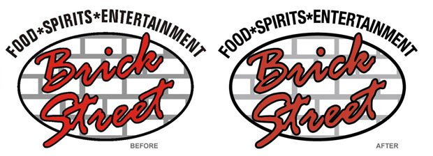 Brick Street Bar Before and After Logo Conversion