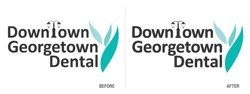 Logo Conversion. Convert PNG logo file into a 4-color, vector-based, EPS format for Downtown Georgetown Dental Before and After Logo Conversion