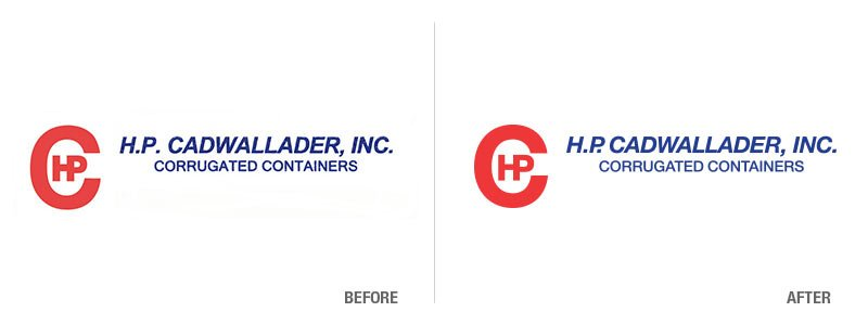 H.P. Cadwallader Before and After Logo Conversion