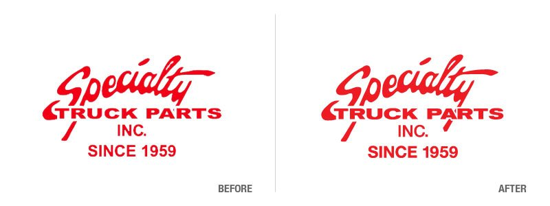 Specialty Truck Parts Logo Conversion Before and After