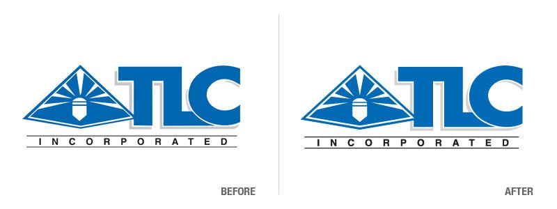 TLC Logo Conversion Before and After