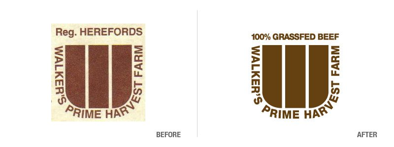 Walker's Prime Harvest Farm Logo Recreation Before and After
