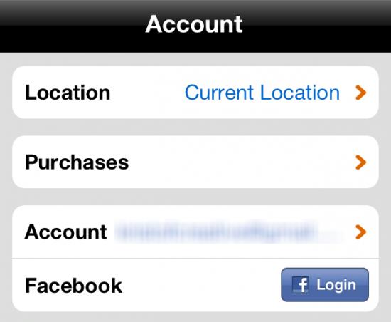 Fandango iPhone App Settings Screen