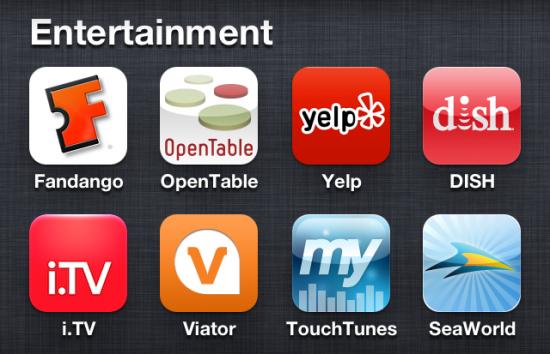 Fandango iPhone App Entertainment screen