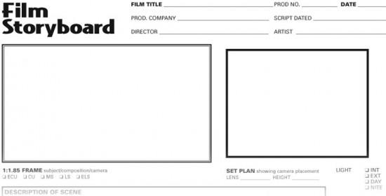 film scene storyboard template