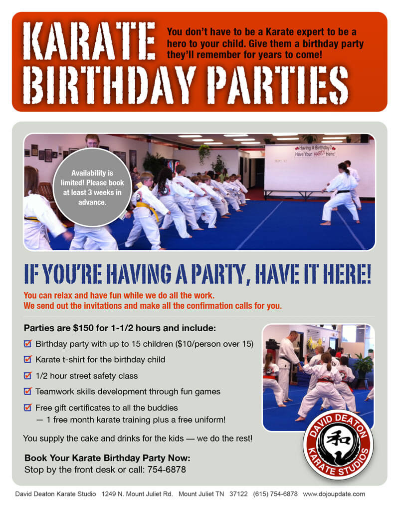 Deaton Karate Birthday Flyer Design