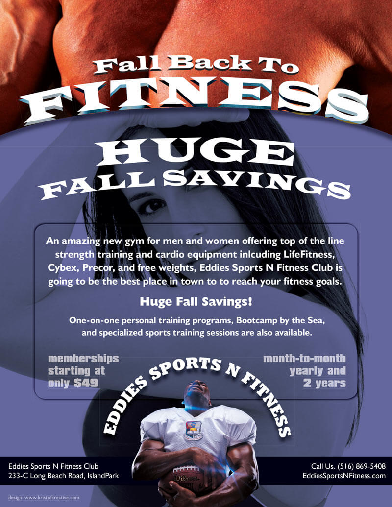 Eddies Sports N Fitness Fall Special Gym Flyer Design