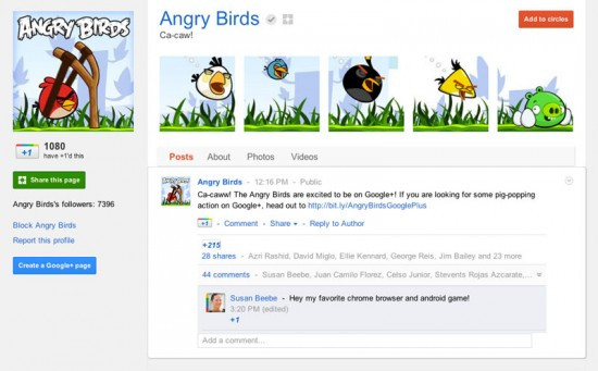 Google Plus Business Page for Angry Birds Game