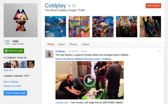 Google Plus Business Page for Coldplay