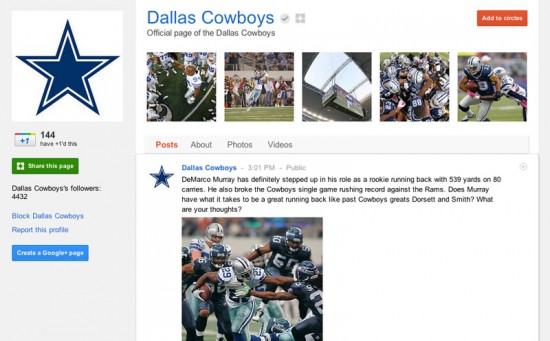 Google Plus Business Page for Dallas Cowboys Football Team