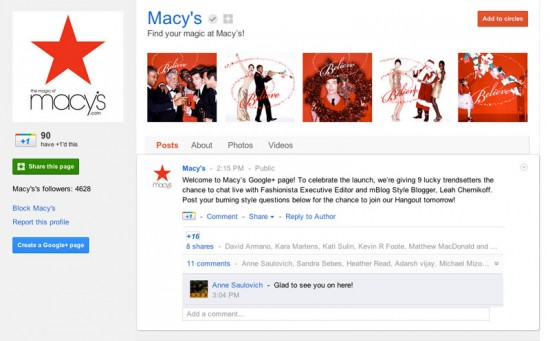 Google Plus Business Page for Macy's