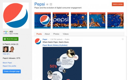 Google Plus Business Page for Pepsi