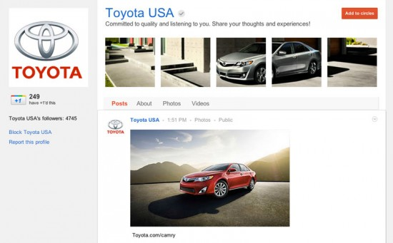 Google Plus Business Page for Toyota