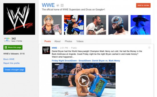 World Wrestling Entertainment Business Page on Google Plus