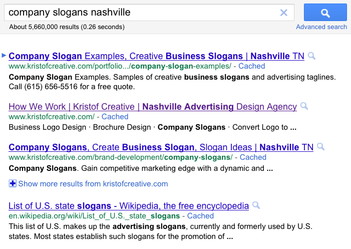 "Google search results page for company slogans nashville"" title=""Google SERPs for company slogan"