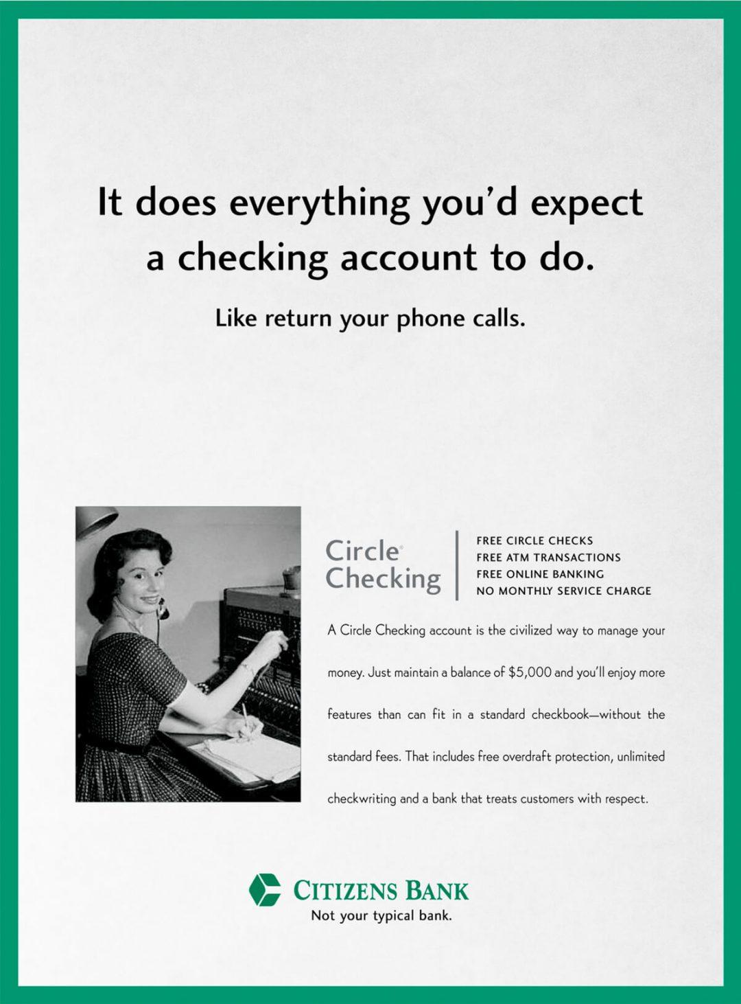 Newspaper Print Ad - Citizens Bank Circle Checking