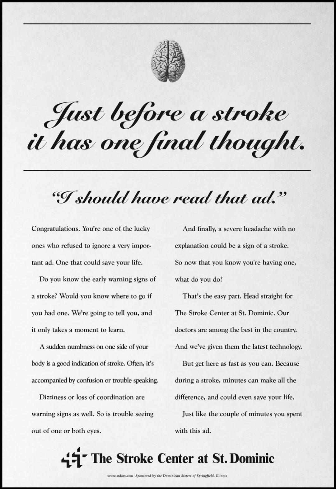 Newspaper Print Ad - St Dominic Stroke Center