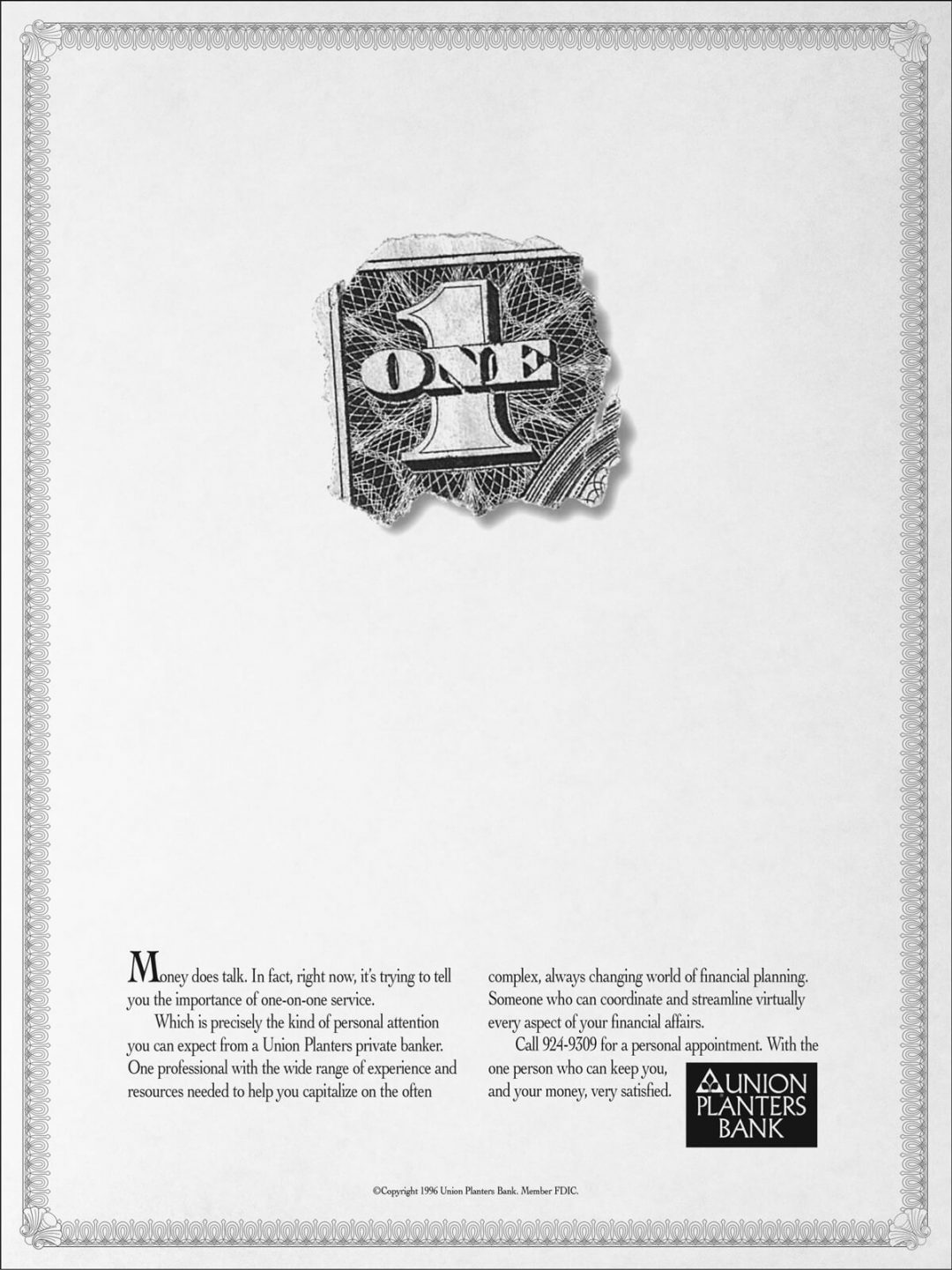 Newspaper Print Ad - Union Planters Private Bank