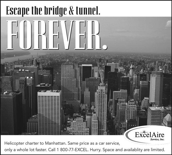 High aerial view of NYC. Headline: Escape the bridge and tunnel. Forever.