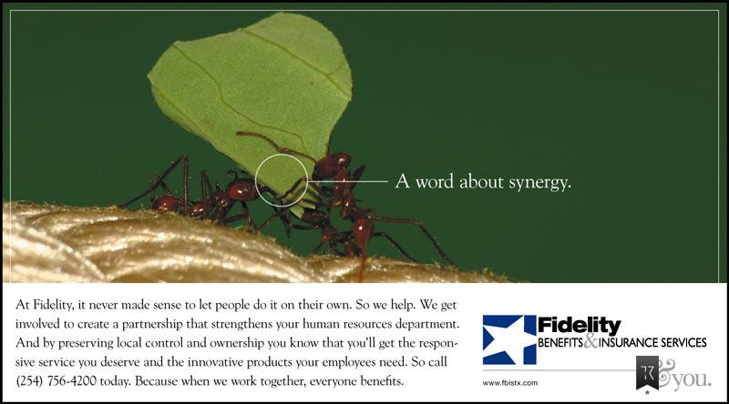 Three ants carrying leaf. Headline: A word about synergy