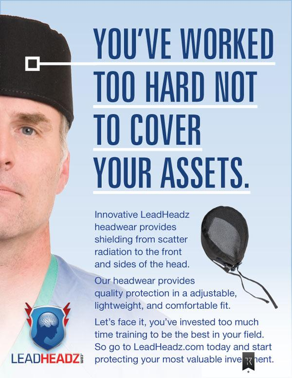 Surgeon wearing black surgical cap. Headline: You've worked too hard not to cover your assets.