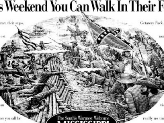 Drawing of civil war battle. Headline: You may never have the chance to fill their boots but this weekend you can walk in their footsteps.