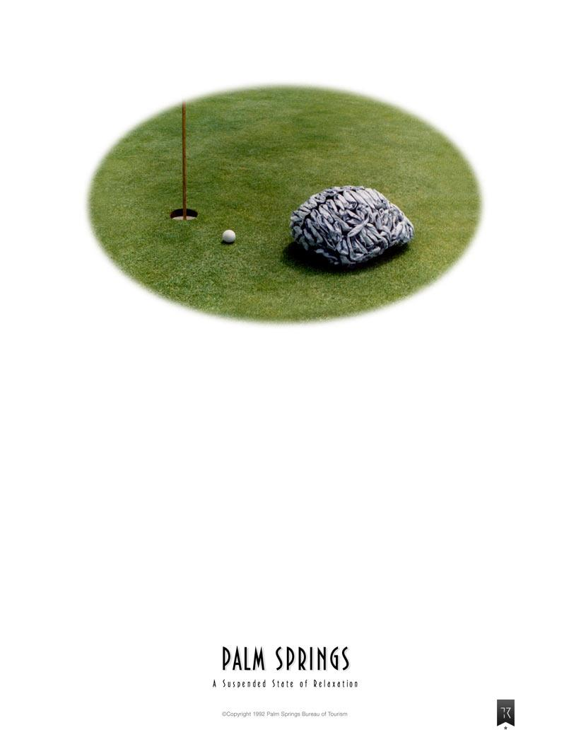Brain sitting on golf green next to hole. Headline: A suspended state of relaxation