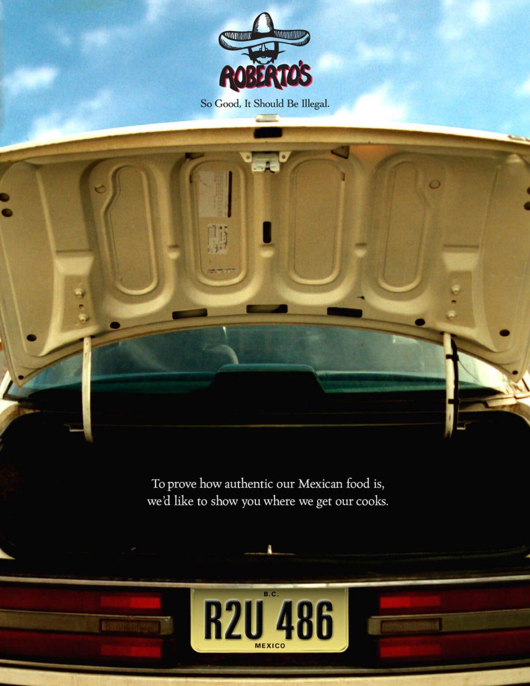Roberto's Taco Shop Print Ad - Car Trunk