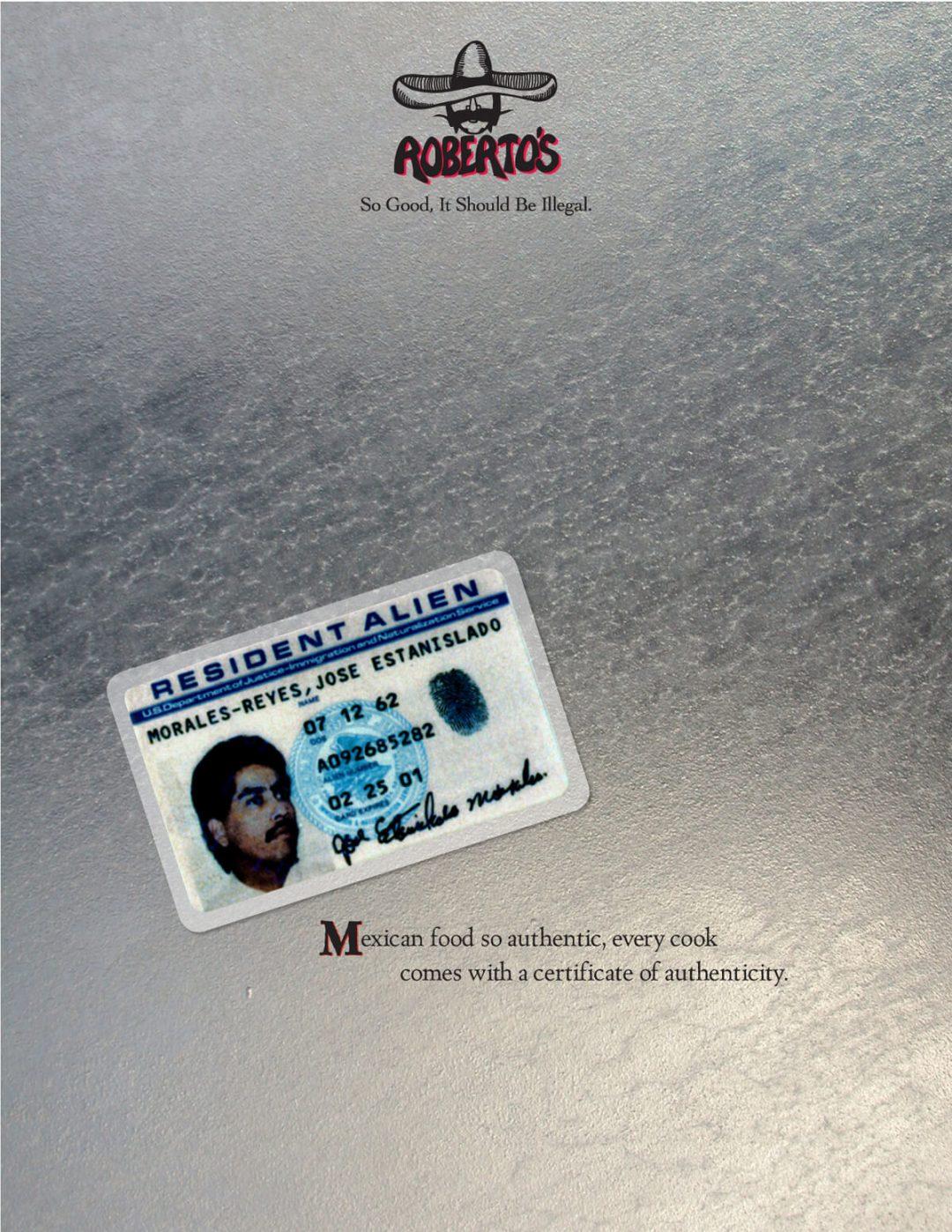Roberto's Taco Shop Print Ad - ID Card
