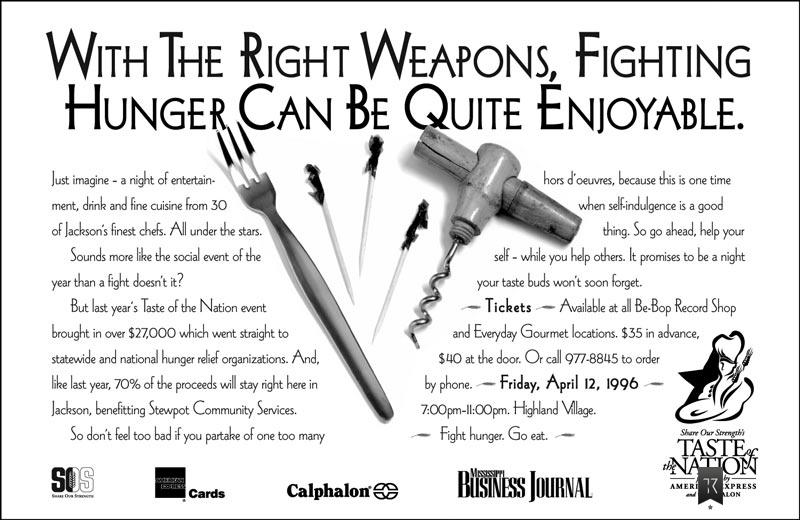 Cocktail fork, wine opener, toothpicks. Headline: With the right weapons, fighting hunger can be quite enjoyable