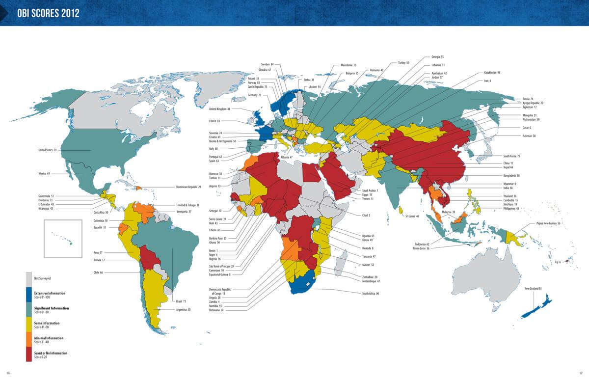 Open Budget Survey 2012 Report Design - Global Map