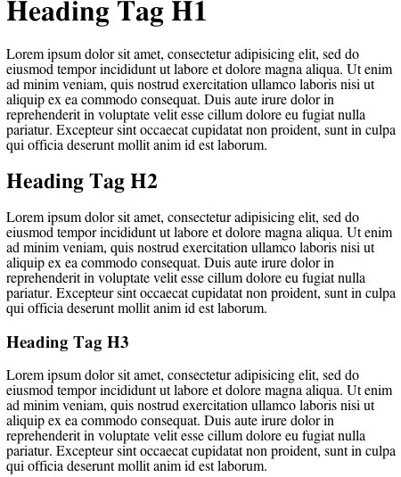 Defualt heading tags structure with disabled font styling
