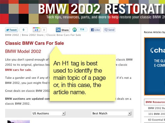 Webpage screen shot showing correct H1 usage as main subject heading for the page