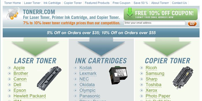 Toner.com AFTER website redesign