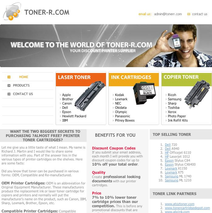 Tonerr.com Website Before Redesign