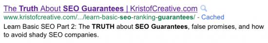 Google Search Results Listing for Truth SEO Guarantees