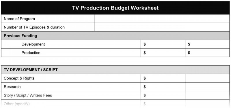 TV Production Budget Worksheet