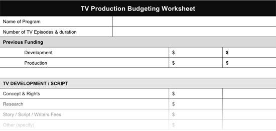 TV Production Budget Worksheet