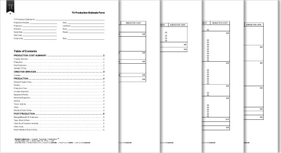 Television Production Estimate Forms (5 pages)