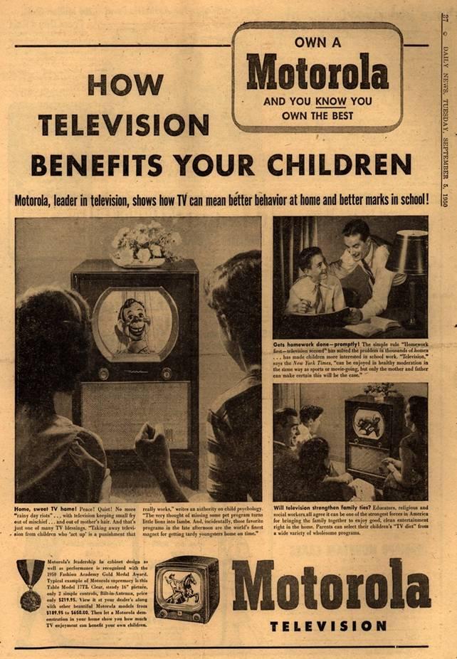 Vintage Print Ad for Motorola TV