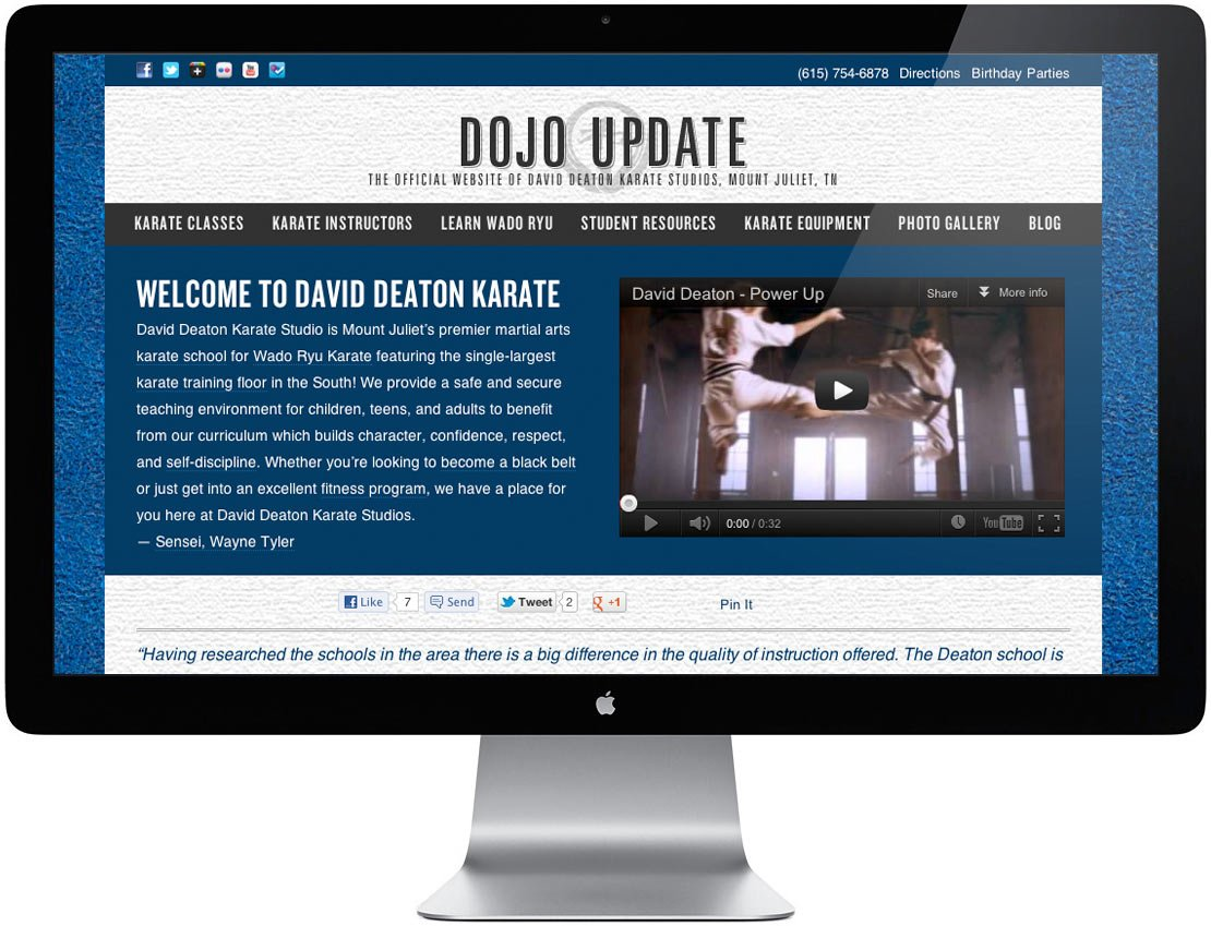 David Deaton Karate Website Redesign Desktop